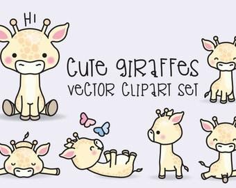 Premium Vector Clipart - Kawaii Giraffes - Cute Giraffes Clipart Set - High Quality Vectors - Instant Download - Kawaii Clipart