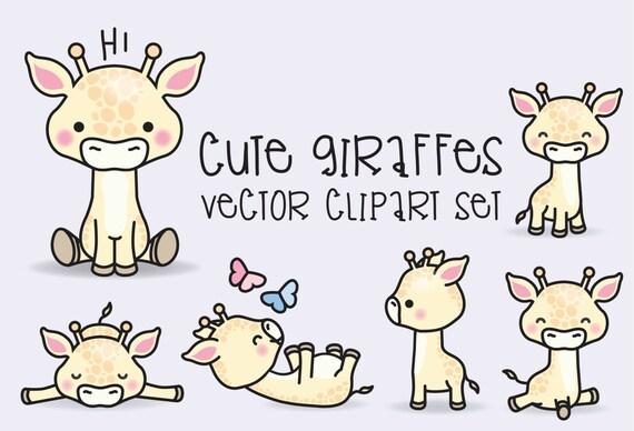 Premium Vector Clipart Kawaii Giraffes Cute Giraffes