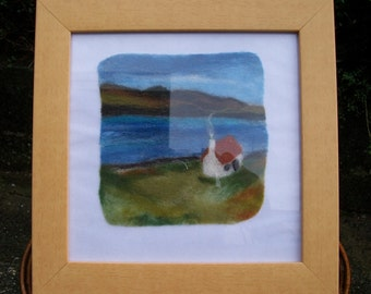 Needle felted, picture, landscape, wool, art