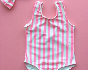 "NOT SO BASIC ""Candy Stripes"" leotard unique gymnastic Leotard for girls, toddler size, come with matching hair bow"