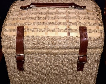Woven Picnic Basket with Leather Handles and Buckles Equipted for Family if Four