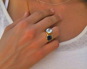 Blue Quartz Gold Ring - Gemstone Ring - Gold ring - Stacking Ring