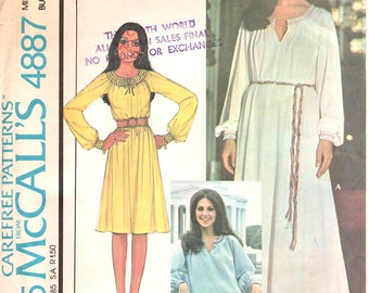 McCalls 4887, Size 8, 1970s Style, Boho Chic, Vintage Sewing Pattern, Retro Pullover Dress, Peasant Blouse, Raglan Sleeves, Bohemian Gypsy