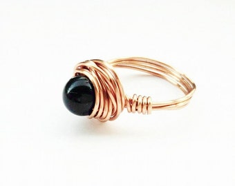 Black Rose Gold Ring- Black Beaded Ring - Rose Gold Jewelry- Rose Gold Jewellery- Black Rose Gold Ring- Gold Bead Ring- Elegant Wire Wrapped