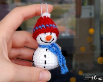 Handmade Snowman Tree Ornament Stocking Filler Christmas gift for dad Crochet Snowman Decoration Stocking stuffer for him Boyfriend gift