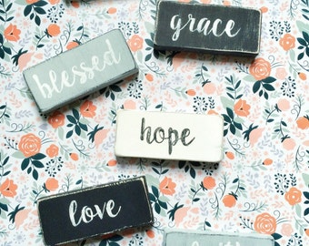 One Word Signs - blessed, hope, faith, love, joy, grace