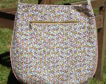 Organic Pink Pinwheels Large Trail Tote, Bag, Purse, Handbag