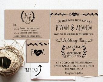 Rustic Wedding Invitation Printable, Kraft Paper Rustic Wedding, Wedding Invitation Suite, Minimalist Wedding Invite, Vintage Wedding Invite