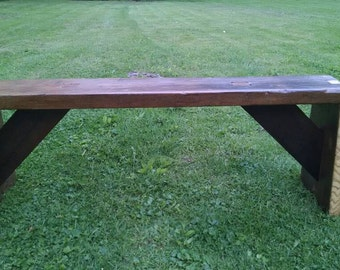 Reclaimed Turn of the Century Barn wood made into bench.  Incredible craftsmanship. Made from oak & pine from barn wood. Quality Handcrafted