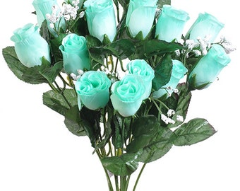 """New Artificial Mint Rose Bud Bush 18"""" in length, 14 Mint Rose Buds 2"""" long x 1.5"""""""