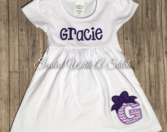 Baby Girl Dress, Monogram or Name with Appliqué Letter