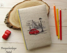Notebook handmade fabric cover, notebook with embroidery Little red machine