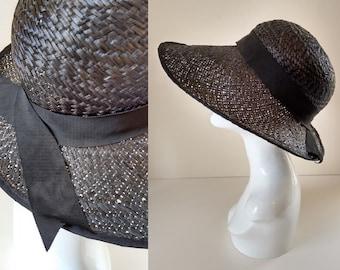 Vintage Black Straw Lampshade Sun Summer Hat