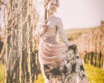 Pink floral skirt, vegan