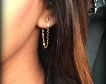Rose Gold Filled Chain Earrings-Sterling Silver Chain Earrings-Gold Filled Chain Earrings-Gold Ball Earrings-Simple Earrings-Dainty Earrings