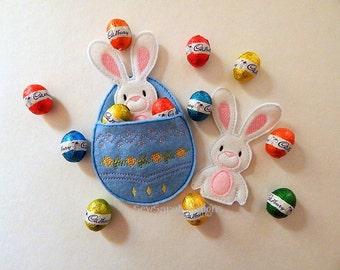 ITH Easter Bunny Finger Puppet & Egg Pocket set (5x7)