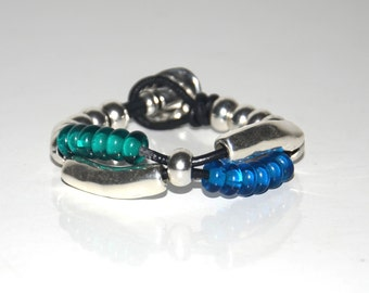women leather bracelet,original design, Zamak beads bracelet, blue and green lamp work beads bracelet,hand made bracelet