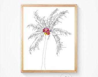 Beach art, beach decor, palm prints, Californian art, botanical, California palm, Palm tree, Palm print, Palm art, palm trees