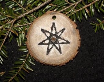 Black Walnut Wood Fairy Star Pendant - For Insight and Protection - Pagan, Wicca, Witchcraft, Elven Star, Seven-pointed Star, Septagram