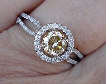 1 Carat Pave Halo VS Yellow Diamond Solitaire Engagement Ring - 14K White Gold