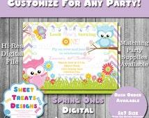 Spring Owl Birthday Party Invitation Printable - Garden Owls - Flowers - You Print - Digital File - Customizable