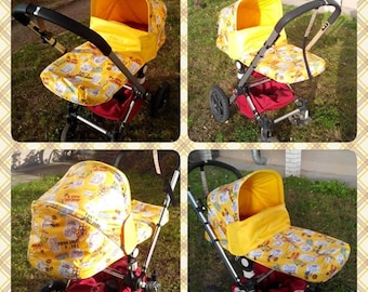 Teddy Bear Hood, canopy yellow ,Sun Canopy, bumper bar cover, Set for Bugaboo Frog, Cameleon Stroller, pram /  waterproof nylon