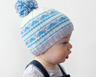 Fair Isle Knitted Hat PDF Knitting Pattern - 8 ply/ DK yarn, Beanie, hat, Geometric, Baby, Toddler, Child, Womens, Mens, Stranded, Ski Cap
