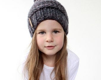 Chunky Knit Hat Pattern - PDF Knitting Pattern, Super Bulky Beanie, Chunky Pom Pom Hat, Baby, Toddler, Child & Adult (Womens) Sizes