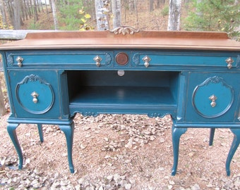 Custom Piece***Vintage buffet/ sideboard, media center, painted,  wood top Country Cottage