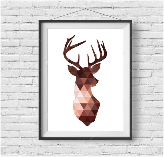 Copper Deer Head Print Brown Deer Wall Art Triangle Deer Poster Geometric  Deer Head Poster Copper Decor Scandinavian Print Brown Decor