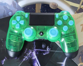 Official CUSTOM PS4 Playstation Controller Green with Blue Buttons