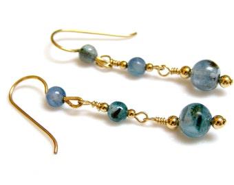 Blue Earrings - Teal Blue Kyanite with 14K Gold Fill,  Blue and Gold, Teal and Gold, Teal - Blue Stone / Gemstone, Drop - Dangle Earrings