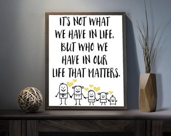 Who we have that matters Digital Art Print - Inspirational Family Wall Art, Motivational Friends Art, Printable Loyalty Typography