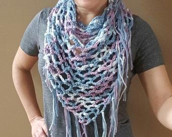 Scarf, Spring, Crochet, Shawl, Cowl, Cotton, Fringed Scarf, Cowl, Lightweight scarf, Cotton Scarf, Shawl, Shawlette, Wrap