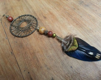 Solitaire earrings Peacock feather