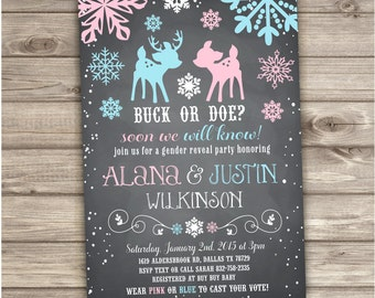 Buck or Doe Gender Reveal Snowflake Baby It's Cold Outside Baby Shower Winter Invitation Co-ed Boy or Girl Couples Shower Neutral NV786