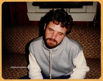 Original Vintage 80s Color Snapshot Found Photo Vernacular Photo Close Up Drunk 80s Guy 1980s Fashion -B154