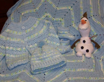 Hand Crocheted Baby Layette Gift Set