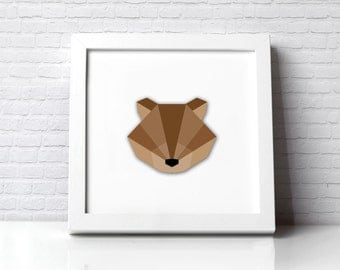 Deer Stag head illustration origami polly geometric Cutout 3D effect
