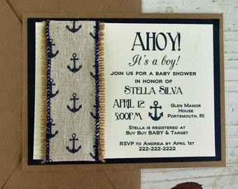 Nautical Baby Shower Invitations, It's A Boy Invitations, Baby Shower Invitations, Anchor Invitations, Nautical Baby Shower, Handmade