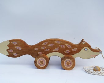 FOX Wooden Toy, Wooden pull toy ,hand painted,eco friendly ,hand crafted toy  natural wooden toddler toy