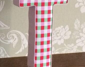 Fabric letters covered in Cath Kidston rosali, red, green, check/gingham. Girls custom, personalised nursery/bedroom decor, keepsake gift