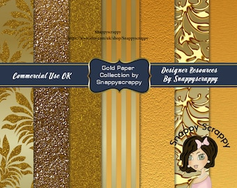 Gold Background Papers, Digital Scrapbooking,  Gold Decorated Printable Background Papers, CU, CU4CU