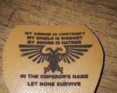 WARHAMMER 40K space marine leather key ring  laser engraved novelty gift