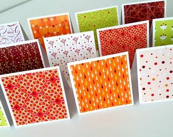 Blank Mini Card set of 12 / mini notecards / mini notes/3x3 cards/mini square cards / mini cards / orange cards /green cards/ bright cards
