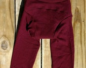Upcycled Merlot - L - 100% Wool - Longies - Cloth Diaper Cover - Baby Toddler Pants - Medium - Merino Wool - Stretchy - Large - Burgundy Red