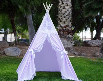 Purpleholic teepee kids Teepee tipi Play tent wigwam or playhouse with lace trim & Butterick Sewing Pattern B4251 Teepee PVC Tent Hide-away Indoor ...