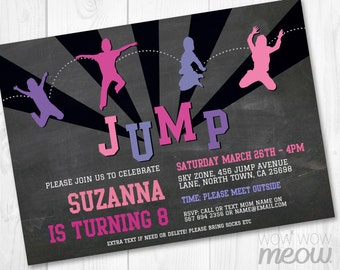 Pink Girls Trampoline Party Invitation JUMP Invite Birthday Any Age INSTANT DOWNLOAD Sports Purple Customize Personalize Editable Printable