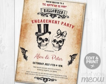 Halloween Engagement Party Invite Skull Couples Shower Invitation INSTANT DOWNLOAD Wedding Rustic Vintage Sugar Bow Personalize Printable