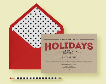 Kraft Paper Modern Holiday Moving Card Invite Template Christmas Red Black